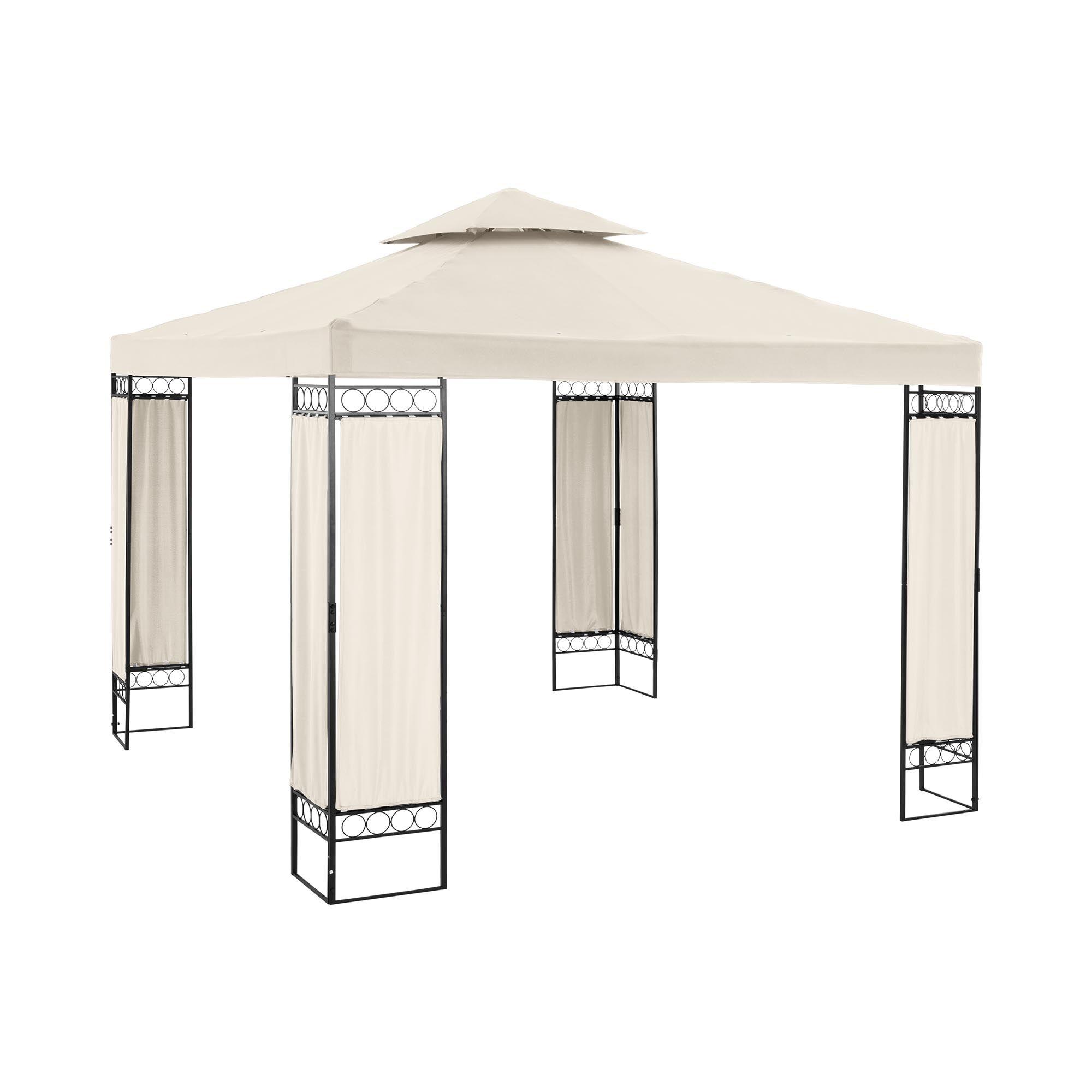 Uniprodo Telt-pavillon - 3 x 3 m - 160 g/m² - flødefarvet UNI_PERGOLA_3X3BF