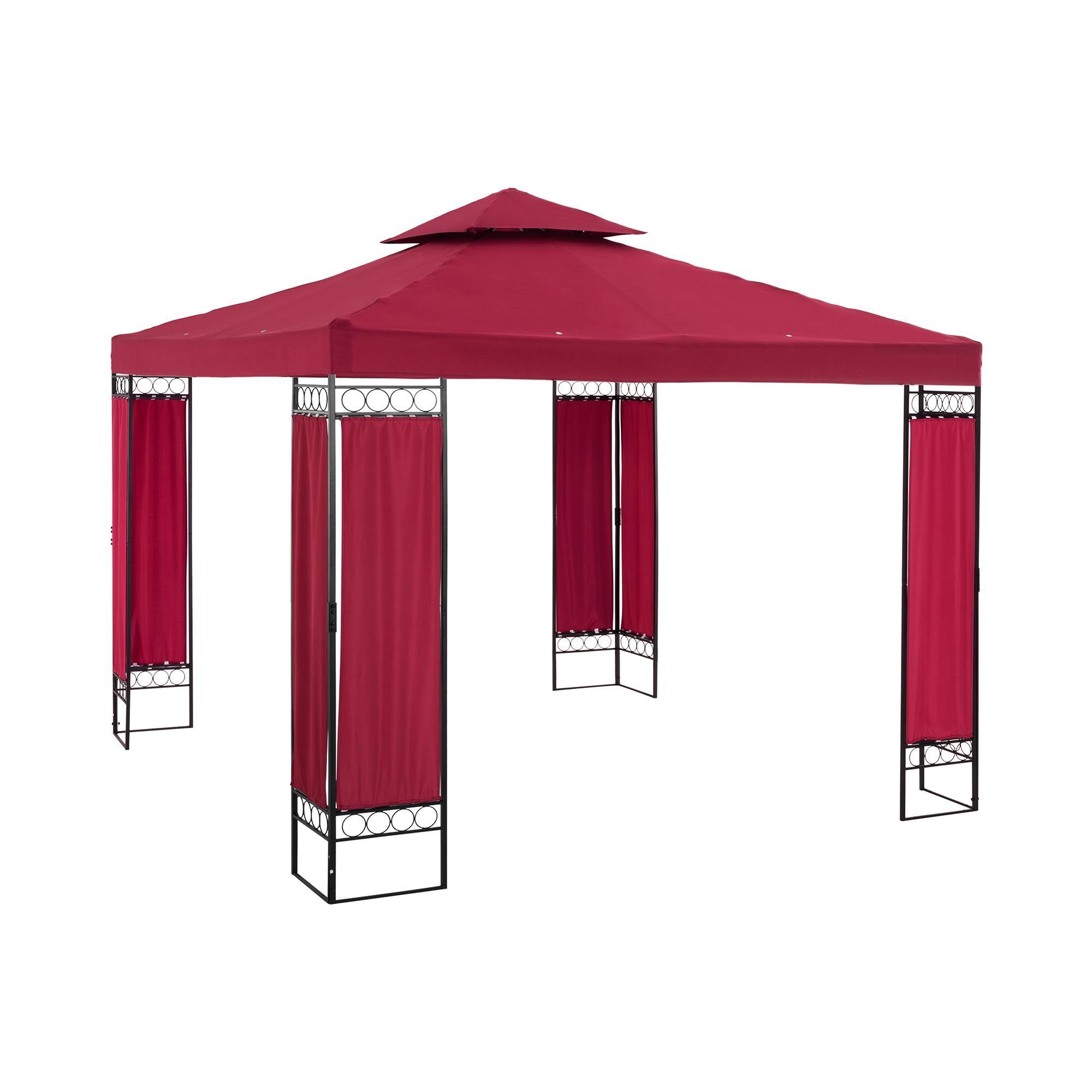 Uniprodo Telt-pavillon - 3 x 3 m - 160 g/m² - vinrød UNI_PERGOLA_3X3RF