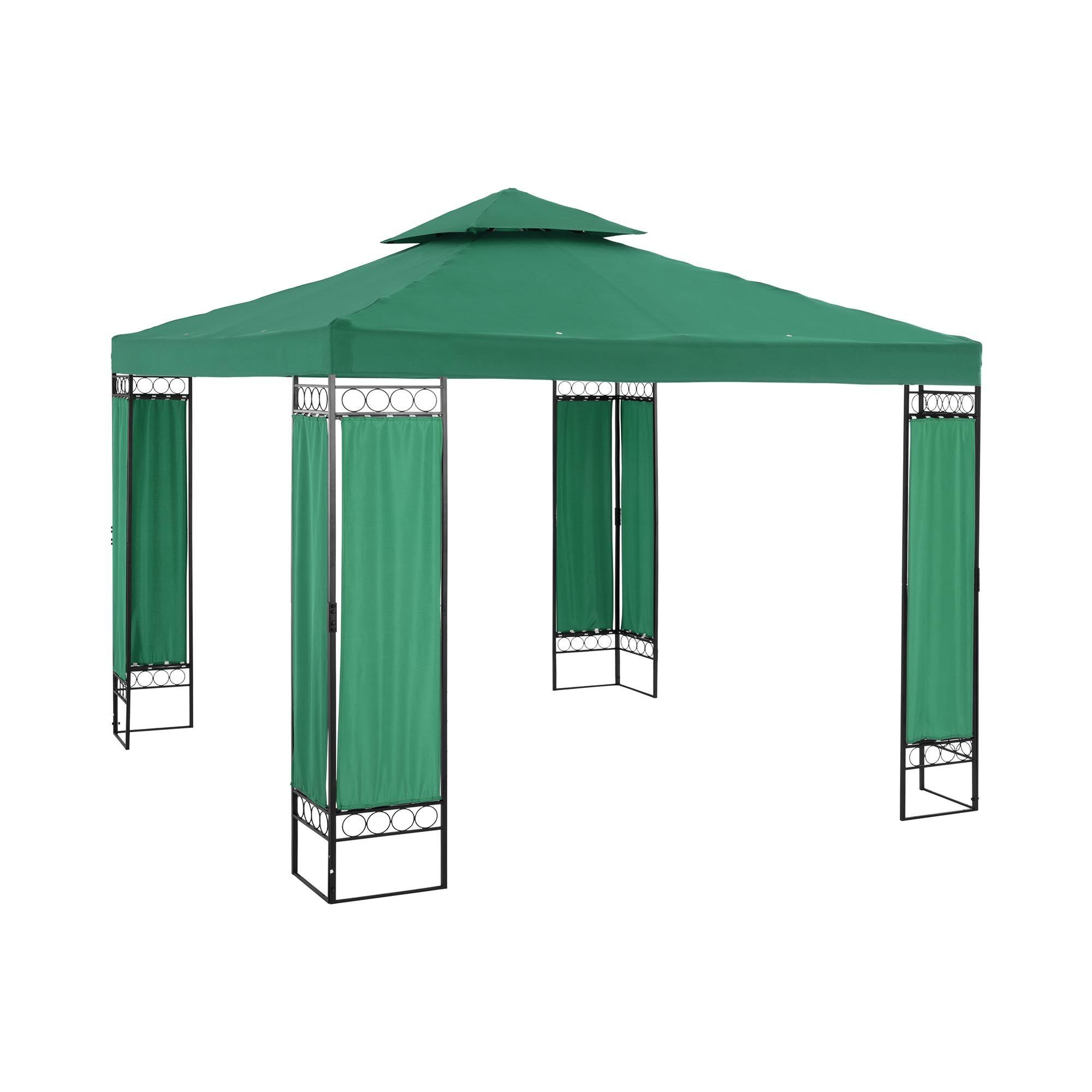 Uniprodo Telt-pavillon - 3 x 3 m - 160 g/m² - mørkegrøn UNI_PERGOLA_3X3GF