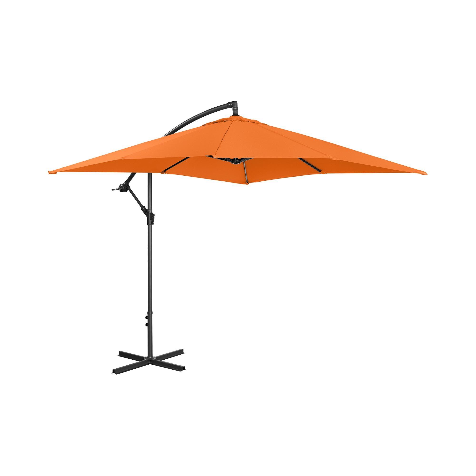 Uniprodo Hængeparasol - orange - rektangulær - 250 x 250 cm - knæk-position UNI_UMBRELLA_SQ250OR