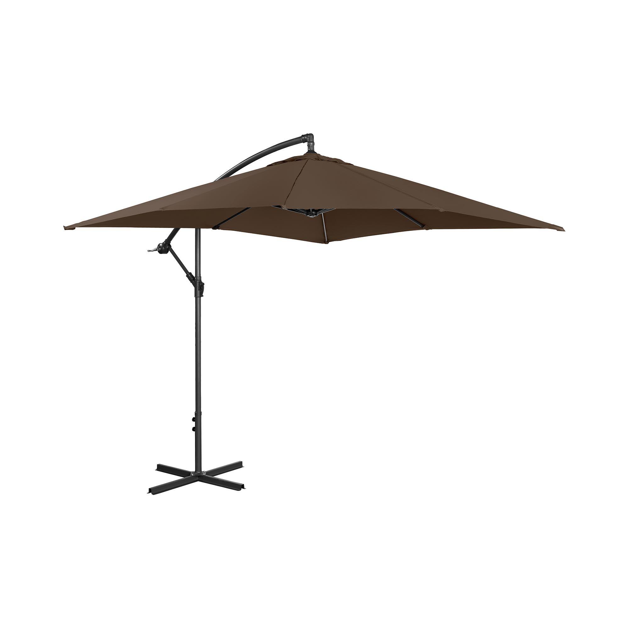 Uniprodo Hængeparasol - brun - rektangulær - 250 x 250 cm - knæk-position UNI_UMBRELLA_SQ250BR