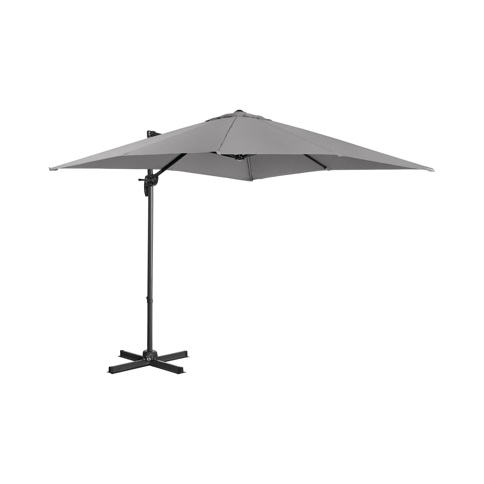 Uniprodo Hængeparasol - mørkegrå - firkantet - 250 cm i diameter - drejelig UNI_UMBRELLA_2SQ250DG