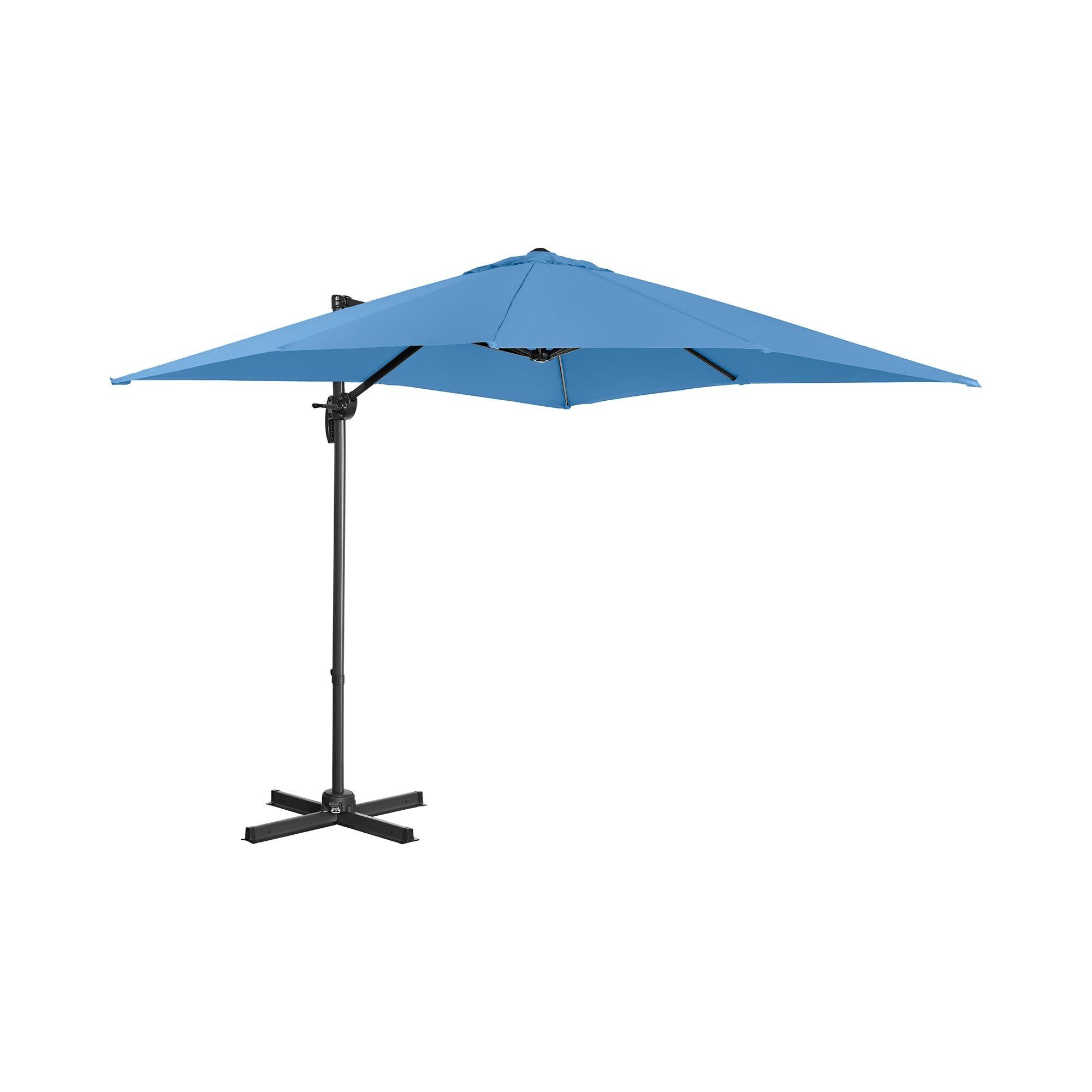Uniprodo Hængeparasol - blå - firkantet - 250 cm i diameter - drejelig UNI_UMBRELLA_2SQ250BL