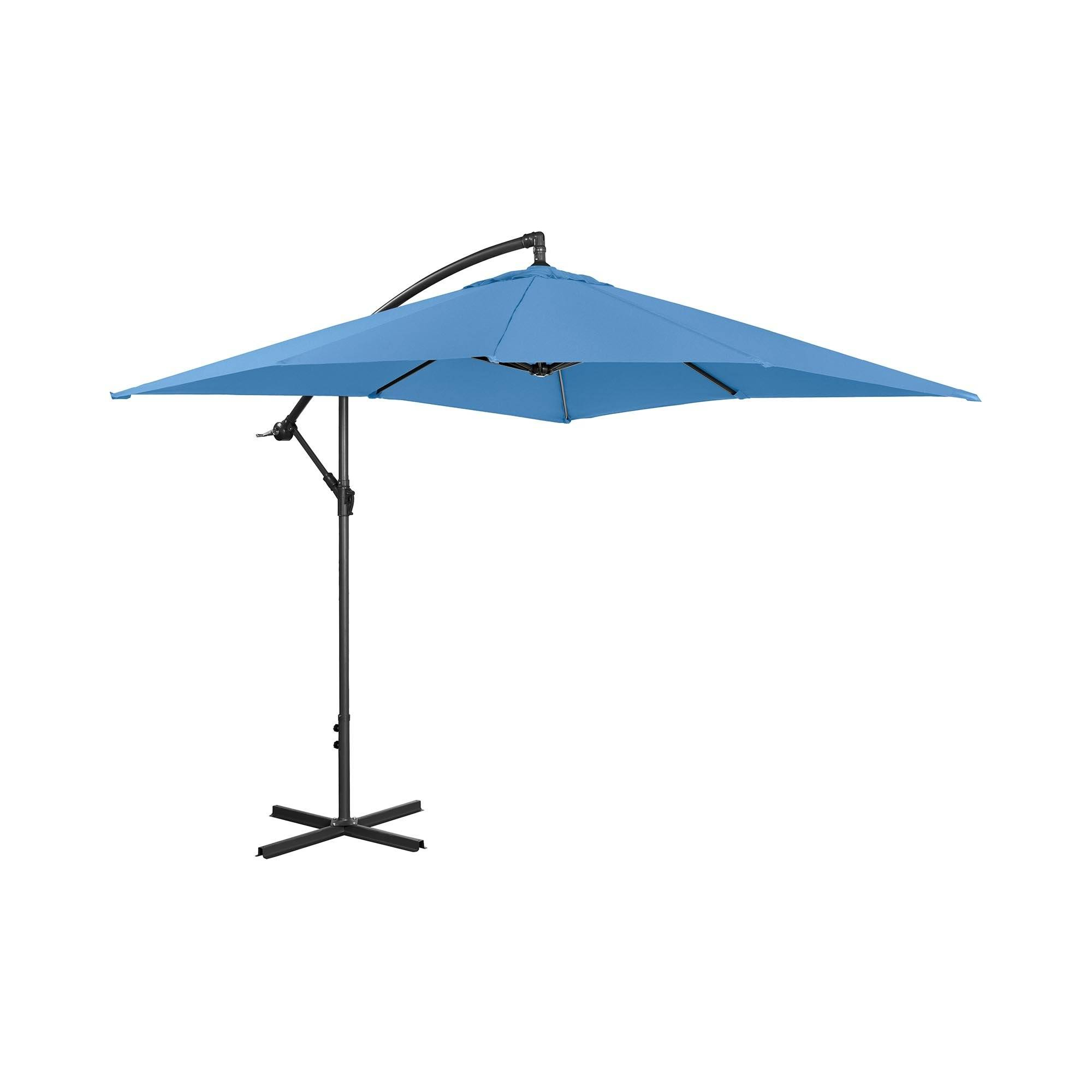 Uniprodo Hængeparasol - blå - rektangulær - 250 x 250 cm - knæk-position UNI_UMBRELLA_SQ250BL