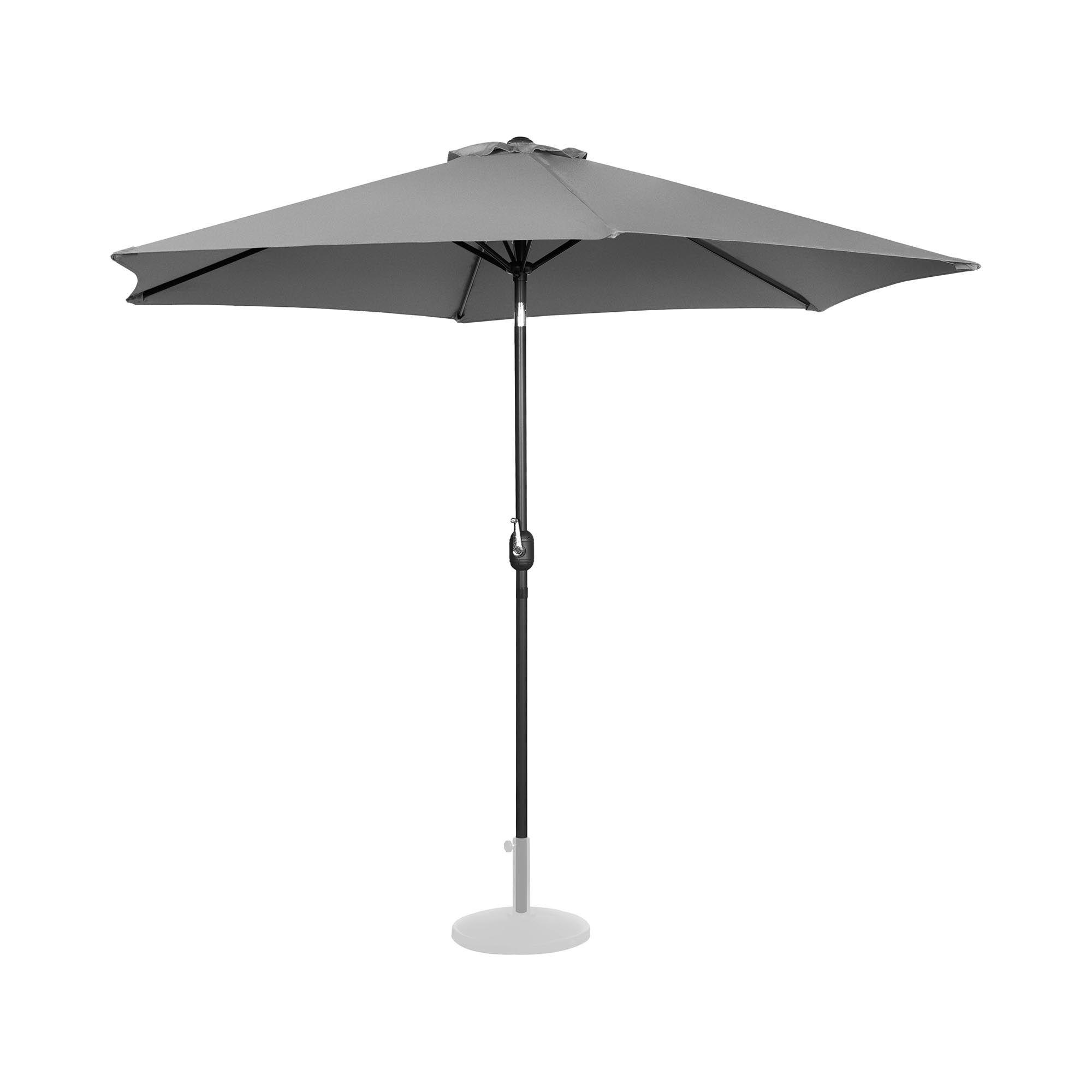 Uniprodo Parasol - mørkegrå - sekskantet - 300 cm i diameter - knæk-position UNI_UMBRELLA_TR300DG