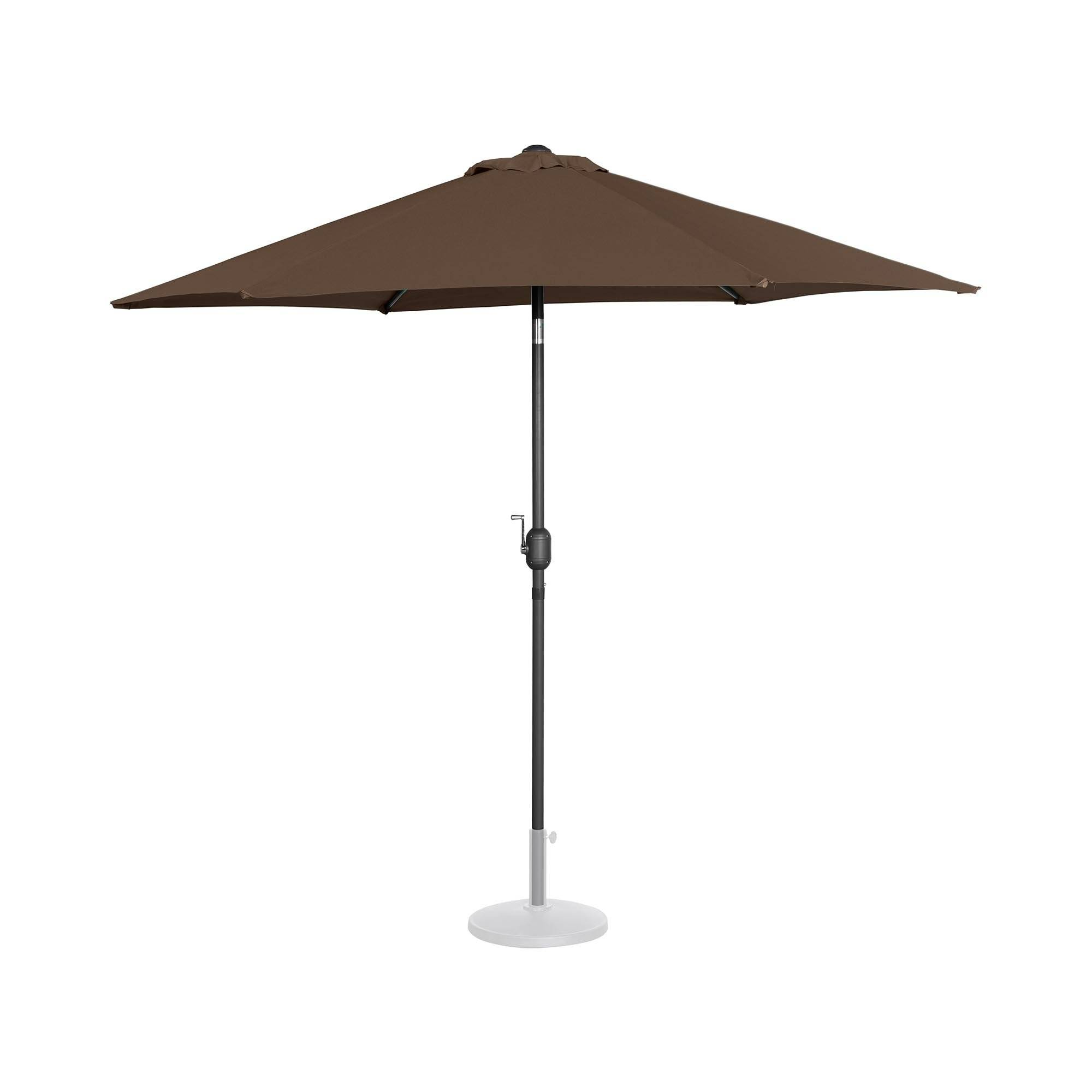 Uniprodo Parasol - brun - sekskantet - 270 cm i diameter - knæk-position UNI_UMBRELLA_R270BR