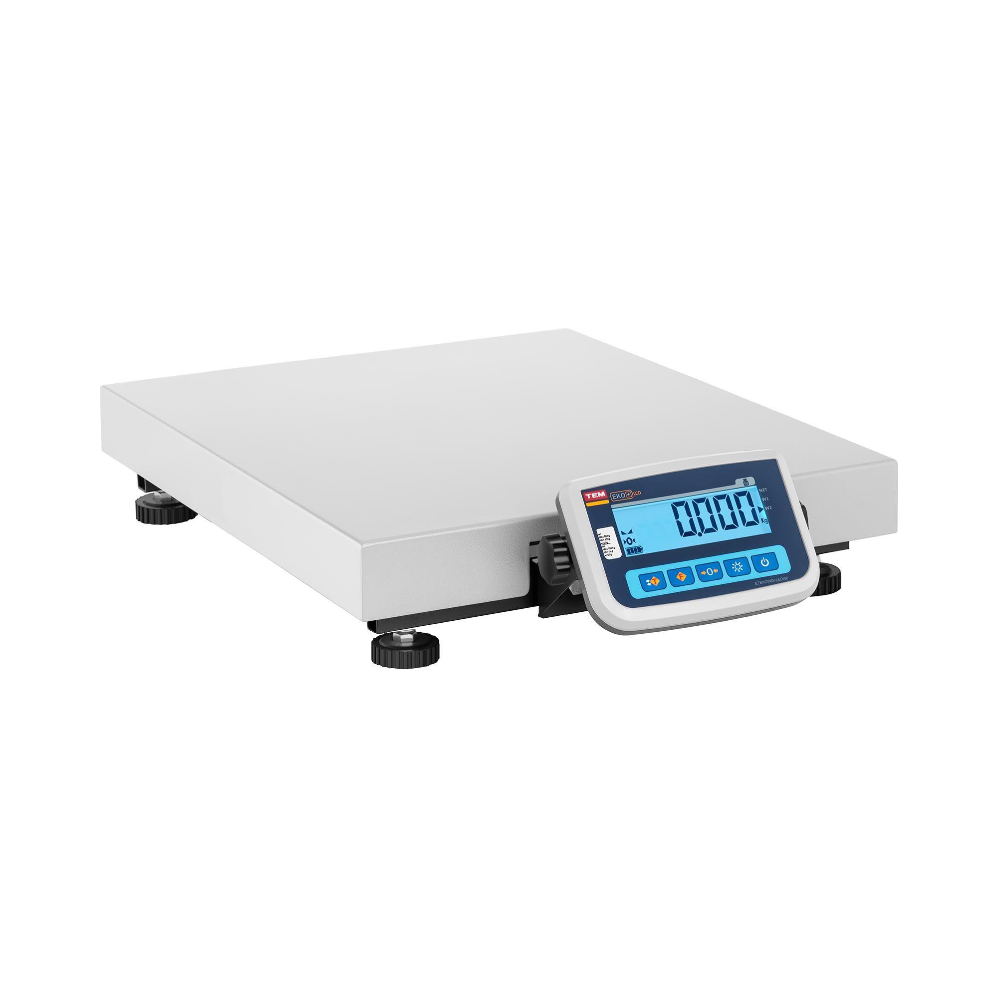 TEM Pakkevægt - certificeret - 150 kg / 50 g - 60 x 50 cm BEK+C030X060150-F-B1