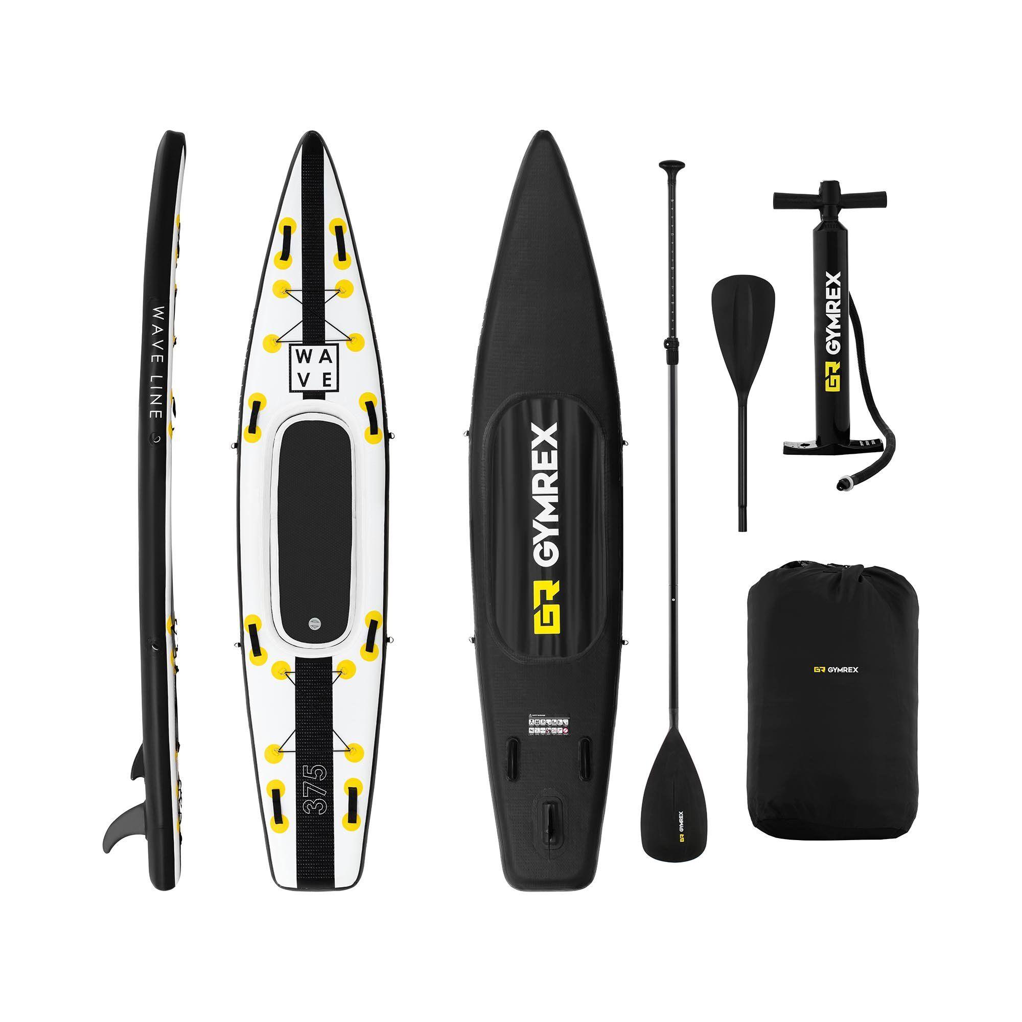 Gymrex Paddle-board - 120 kg - sort/gul - sæt inkl. paddel, sæde og tilbehør GR-SPB375