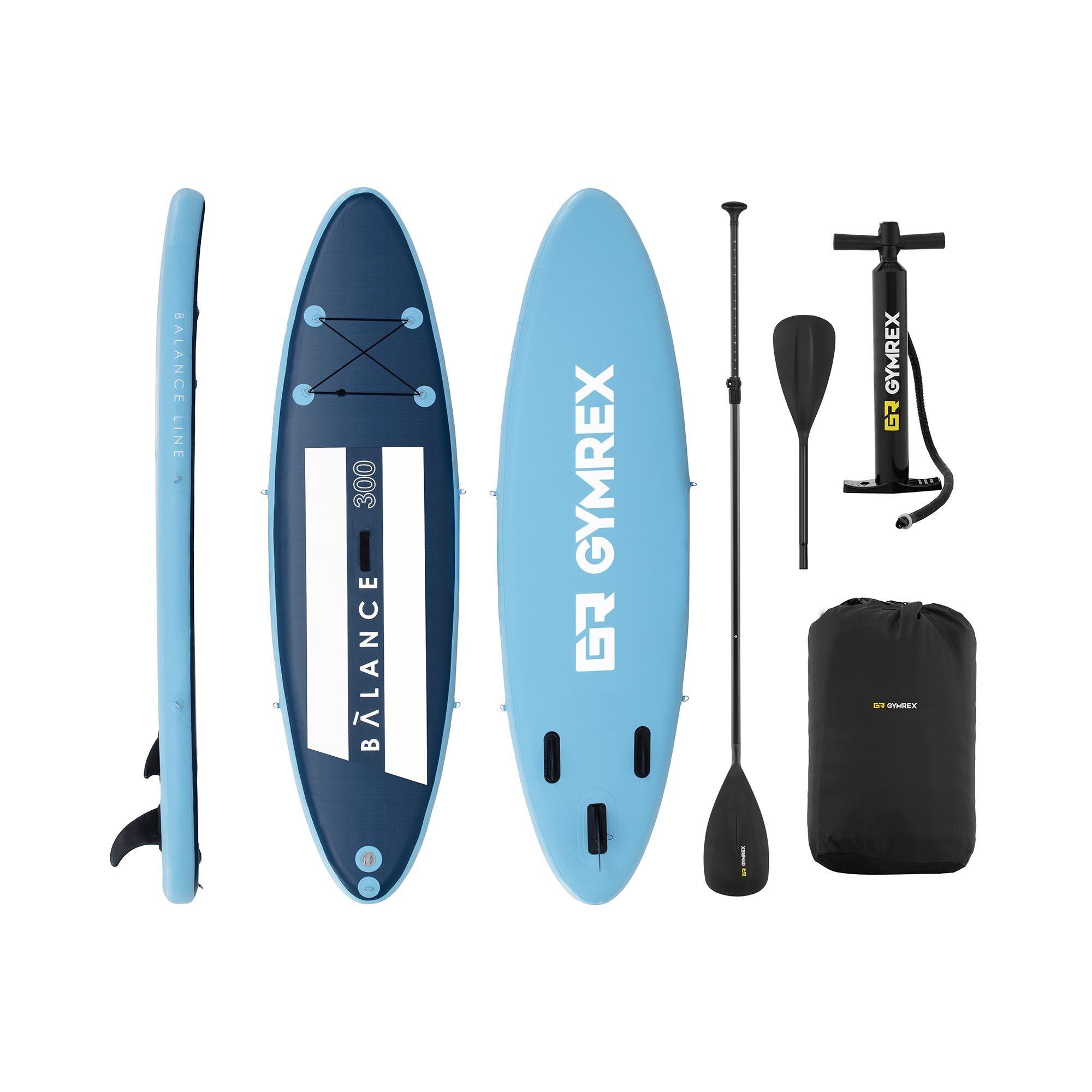 Gymrex Paddle-board - 135 kg - blå/marineblå - sæt inkl. paddel og tilbehør GR-SPB300