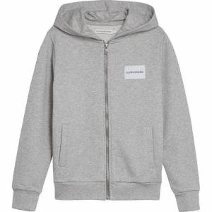 Calvin Klein - logo terry zip hoodie, light grey heather - 16