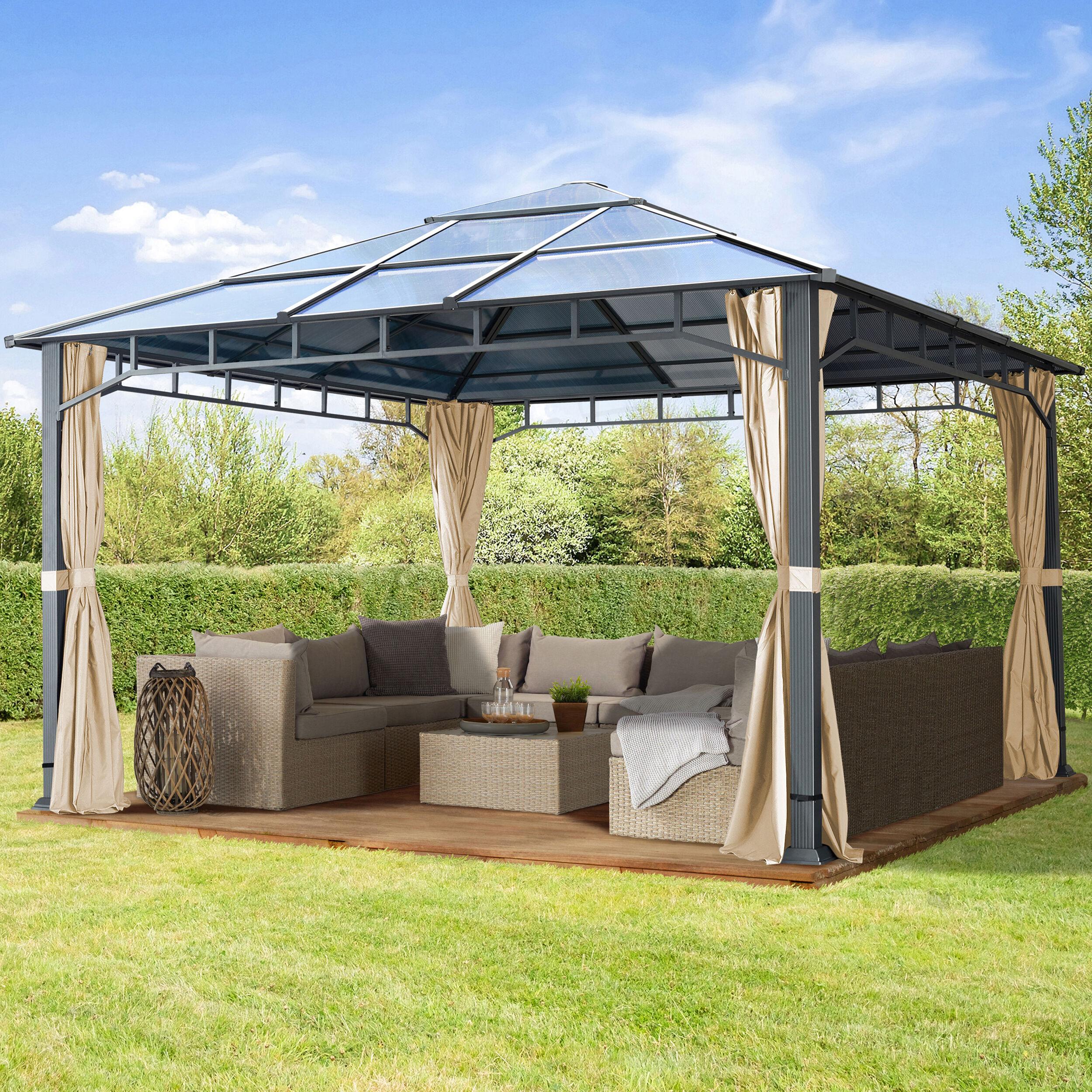 TOOLPORT Havepavillon 4x4m Polycarbonat-plader 8 mm champagnefarvet 100 % vandtæt champagnefarvet
