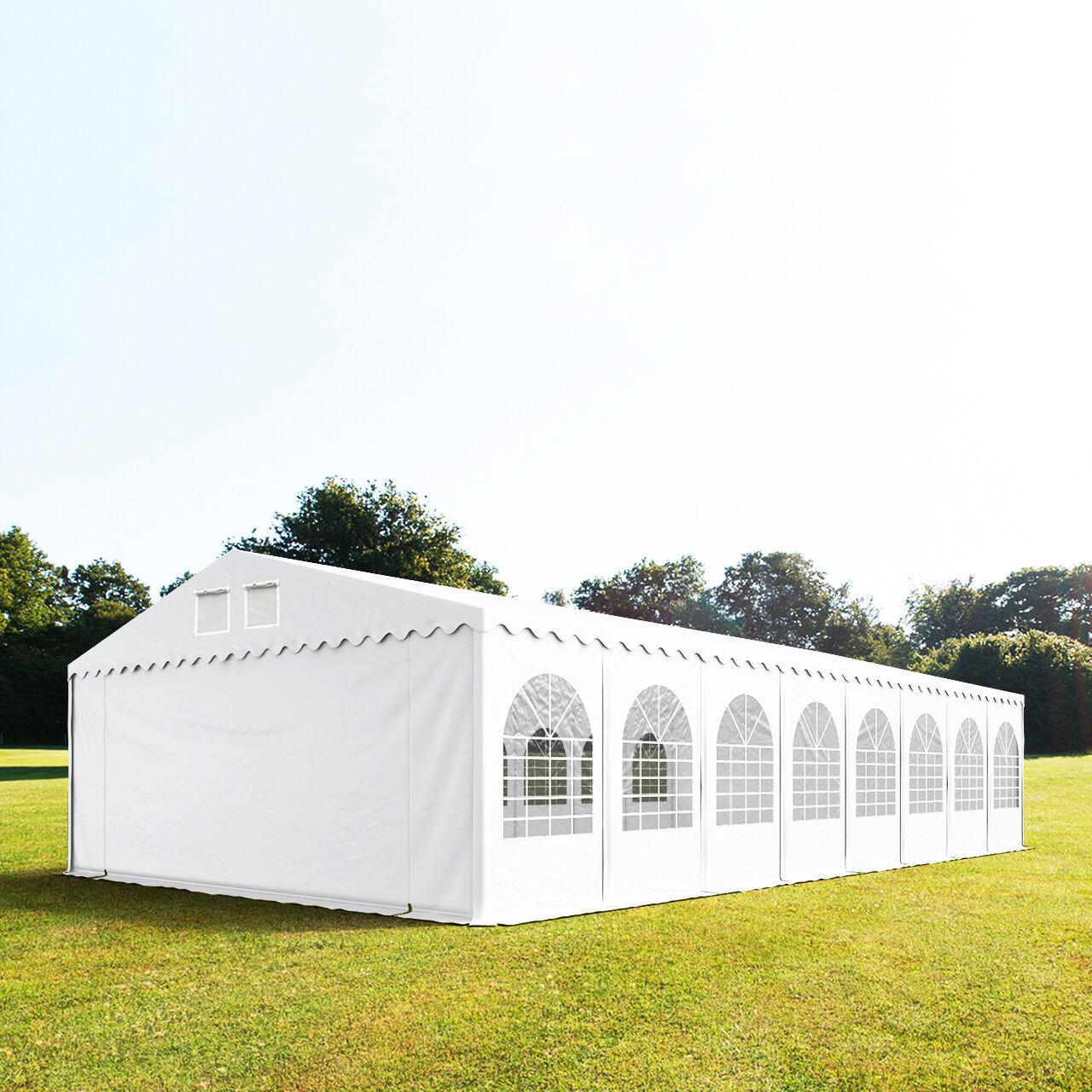 TOOLPORT Partytelt 7x26m PVC 550 g/m² hvid 100 % vandtæt Gartenzelt, Festzelt, Pavillon hvid
