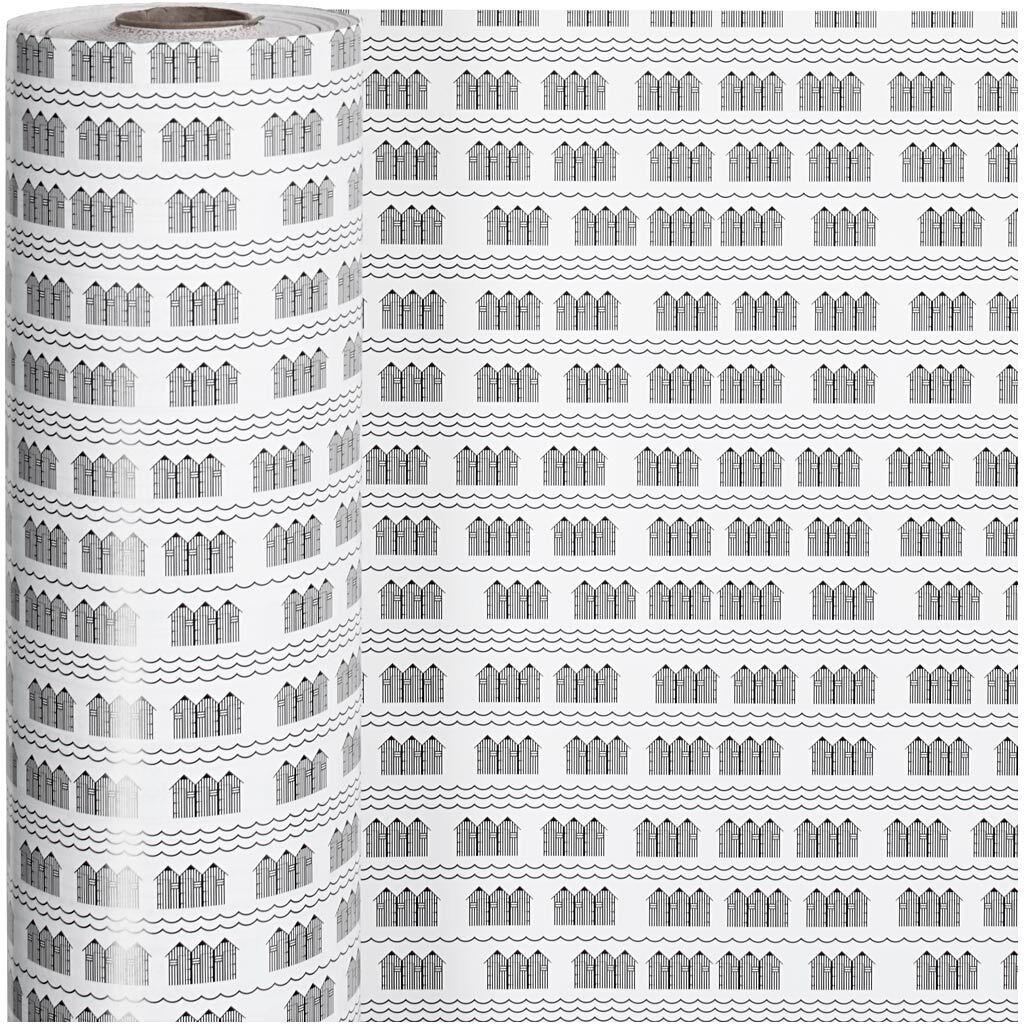 Creativ Company Gavepapir, Badehus, B: 57 Cm, 80 G, Sort, Hvid, 150 M/ 1 Rl.
