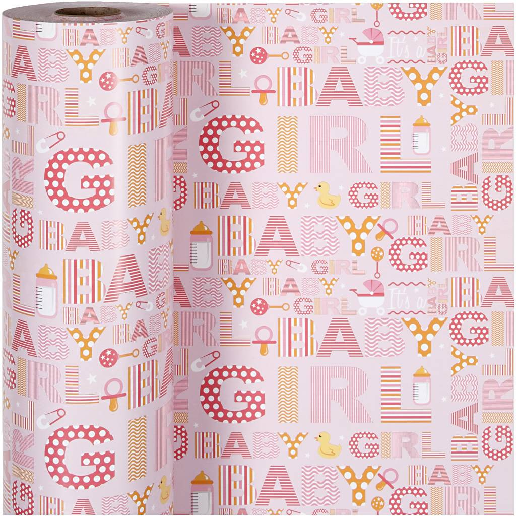 Creativ Company Gavepapir, Baby Pige, B: 50 Cm, 80 G, 150 M/ 1 Rl.
