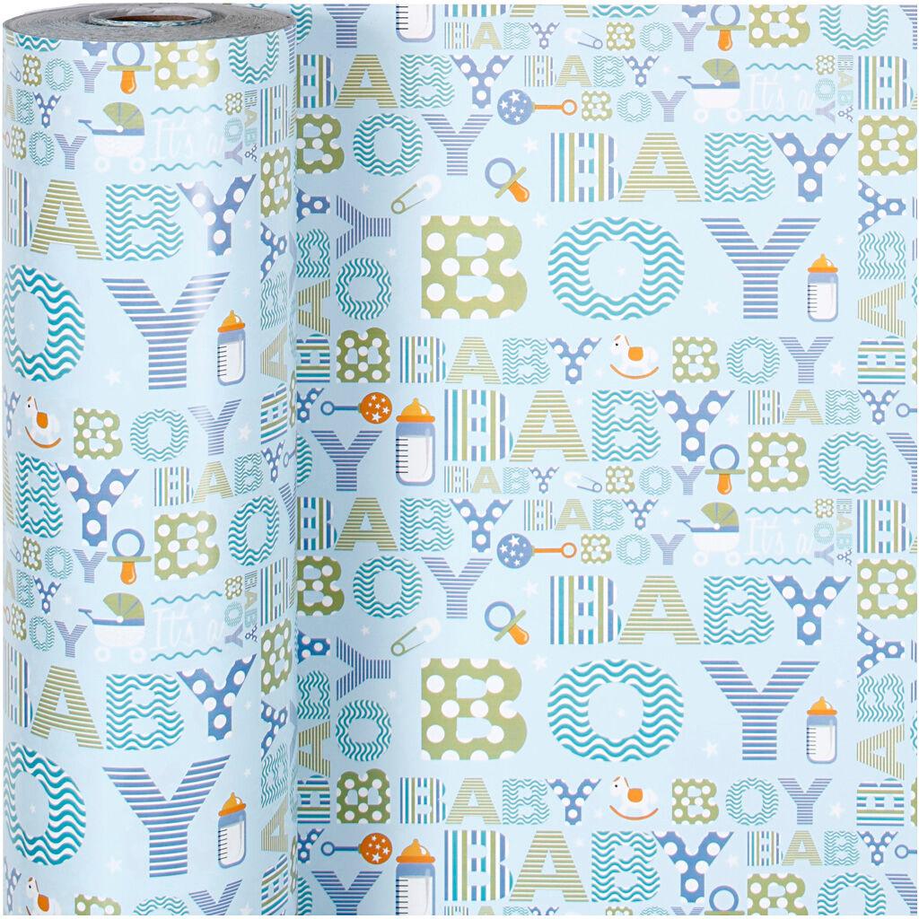 Creativ Company Gavepapir, Baby Dreng, B: 50 Cm, 80 G, 150 M/ 1 Rl.