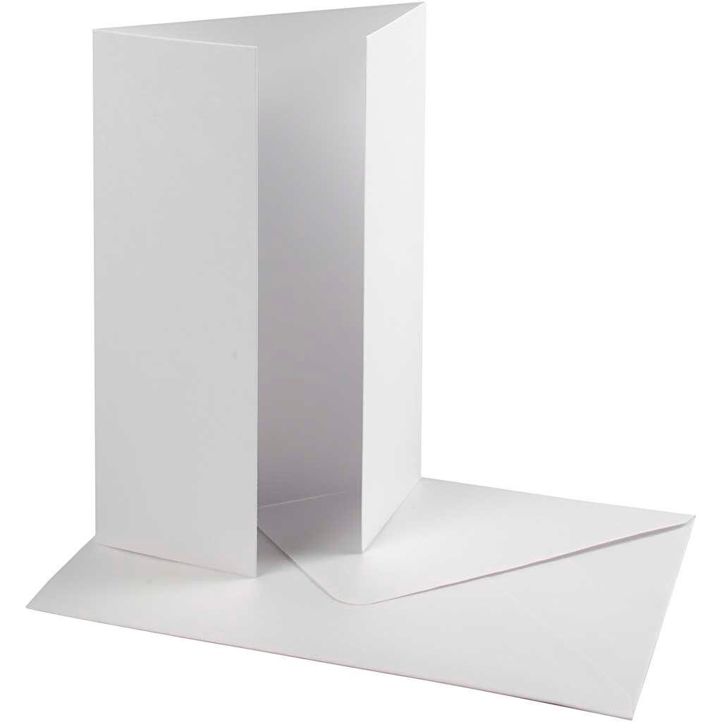 HappyMoments Perlemorskort Med Kuvert, Kort Str. 10,5x15 Cm, Kuvert Str. 11,5x16,5 Cm, 230 G, Hvid, 10 Sæt/ 1 Pk.