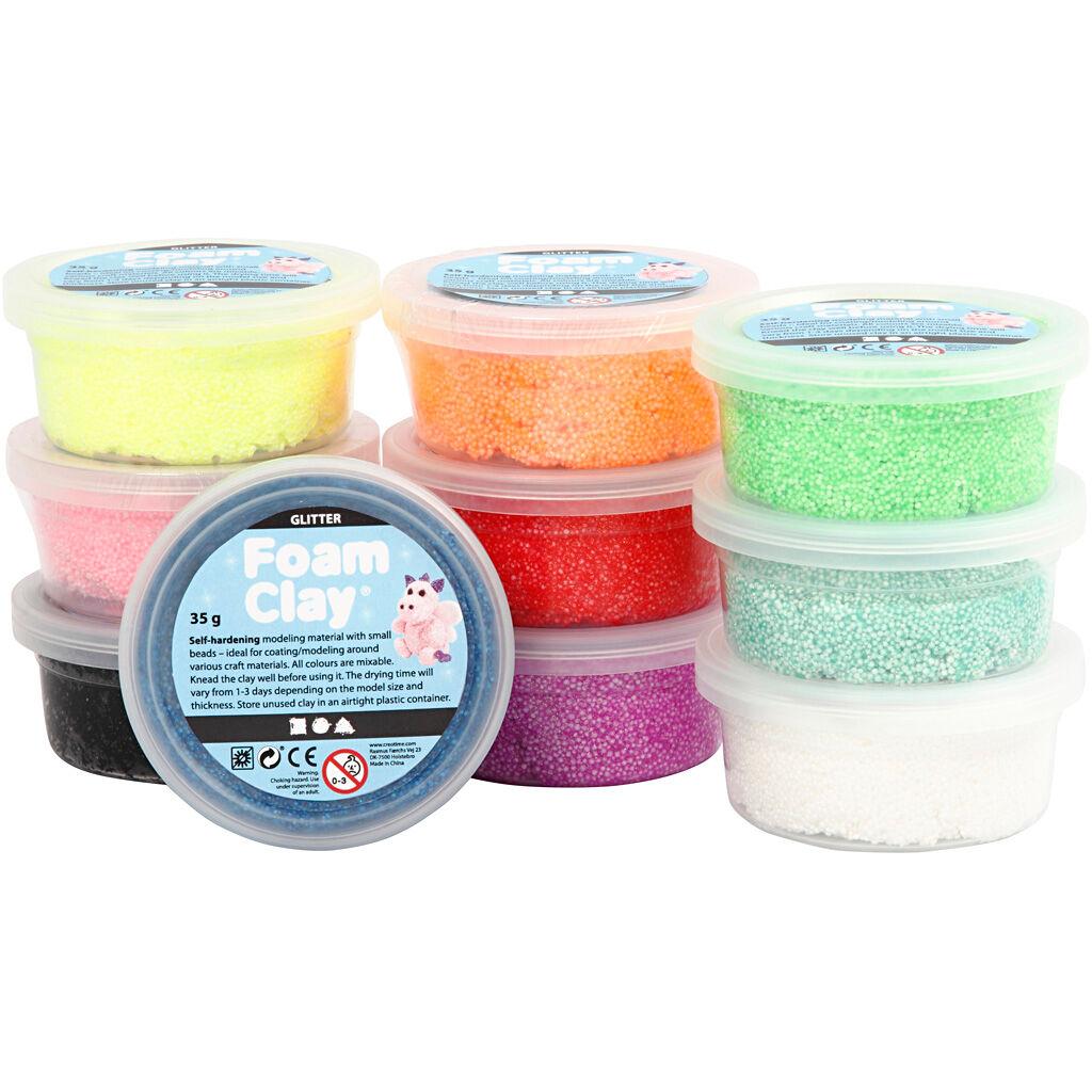 FoamClay Foam Clay®, Glitter, Ass. Farver, 10x35 G/ 1 Pk.