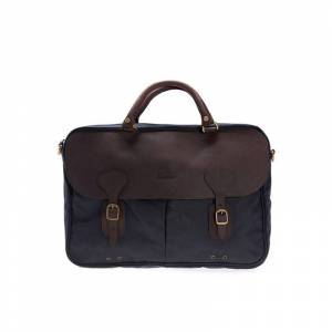 Barbour Wax Leather Briefcase Blå Blå OneSize