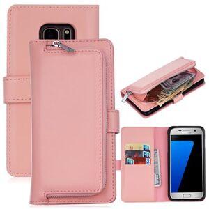 Edge Delux multietui med pung og aftageligt cover til Samsung Galaxy S7 edge - Sart lyserød