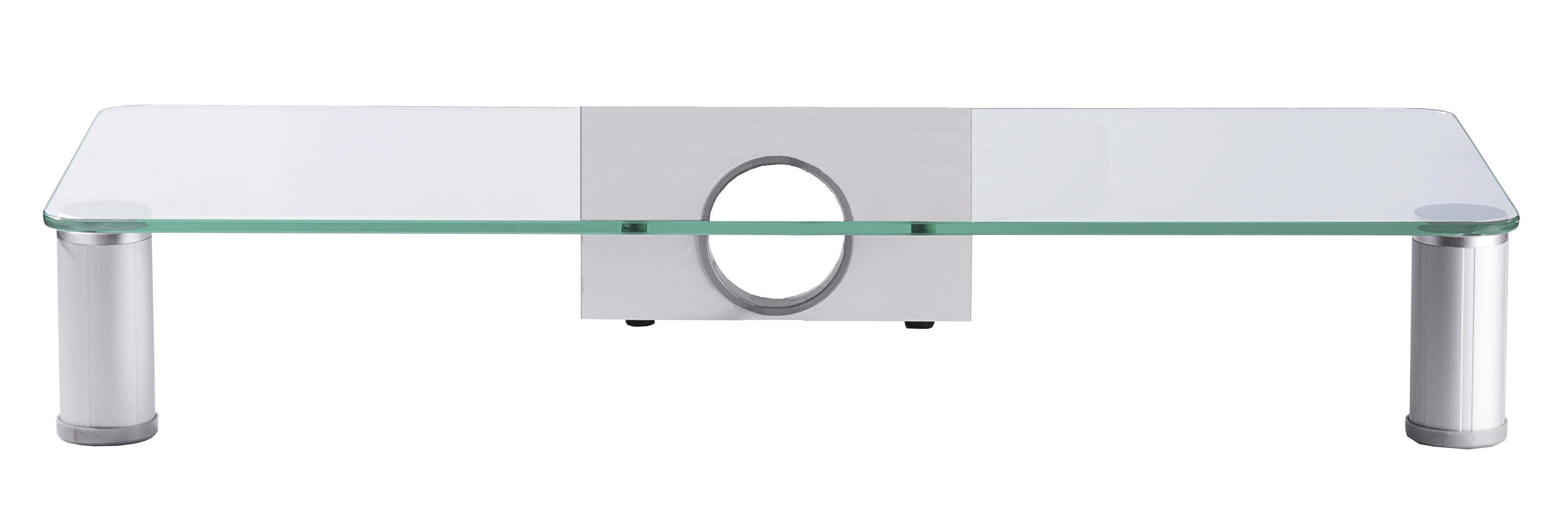 Parco TV-Møbel ,opsatshylde glas, sølvfarvet, klarglas.