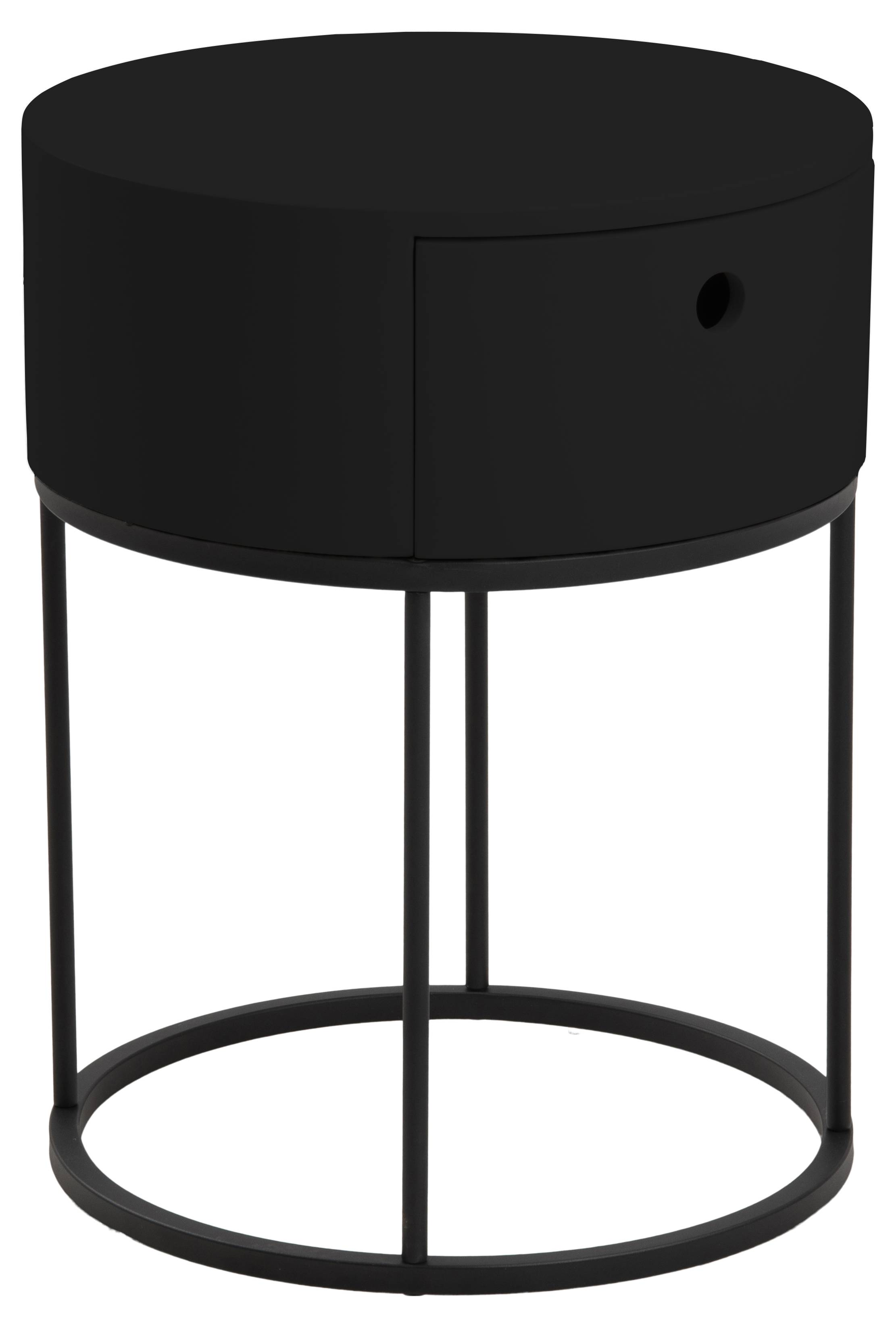 Polo natbord 1 skuffe, Ø40 cm sort.