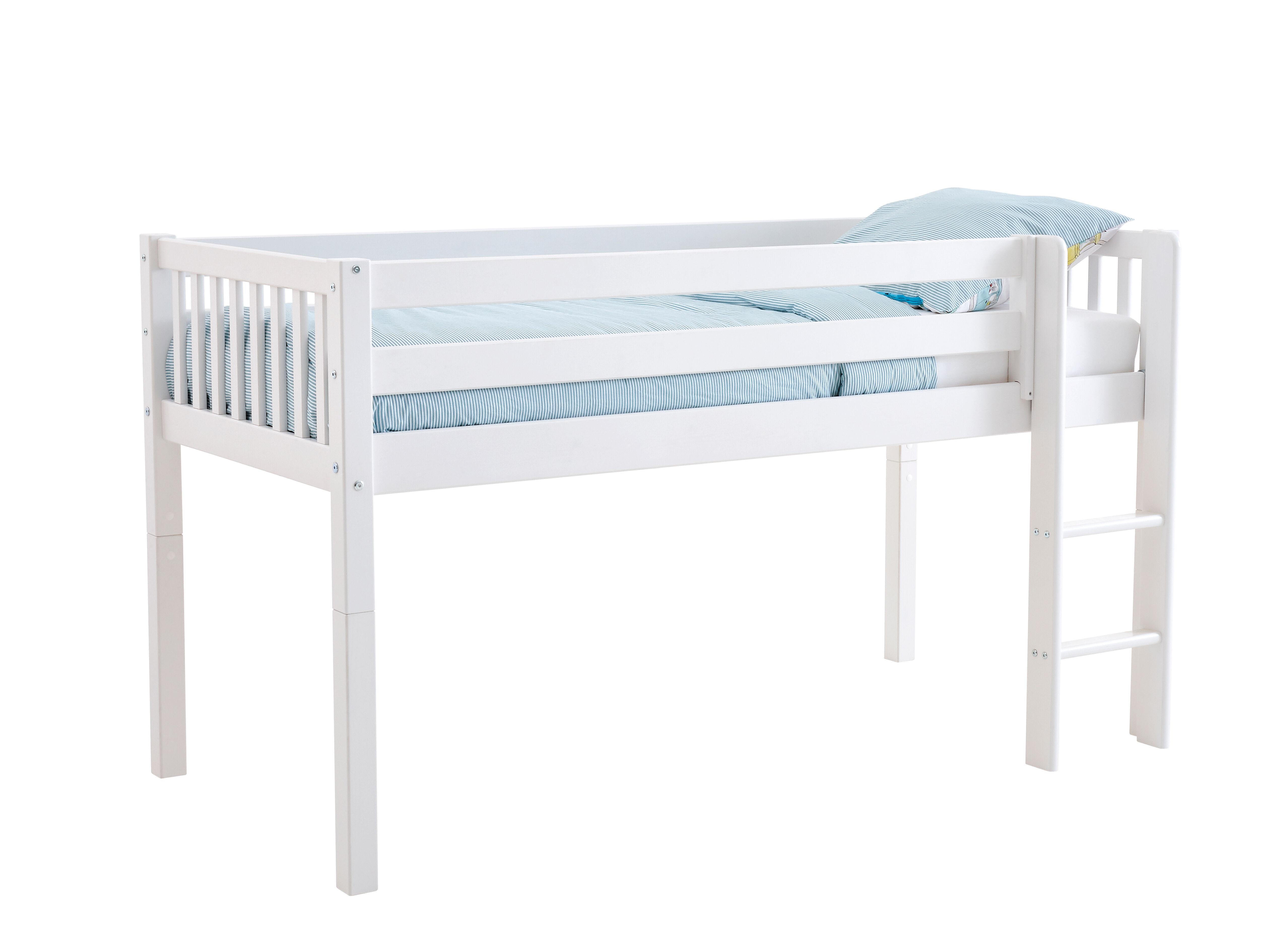 Flexa Basic Nordic halvhøj seng 90x200 cm, med sprosse, hvid.