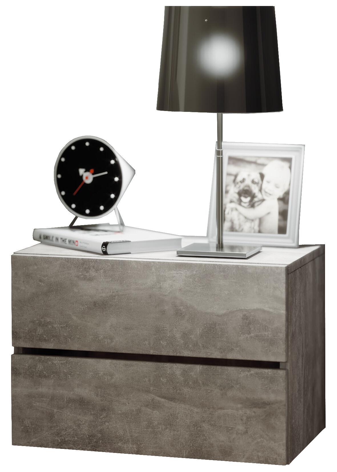 Suda konsolbord, natbord 2 skuffer væghængt, beton dekor.