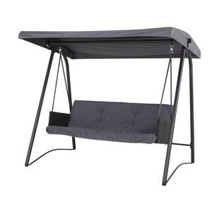 Mines loungemøbel hængesofa, 3 personers sort/grå.