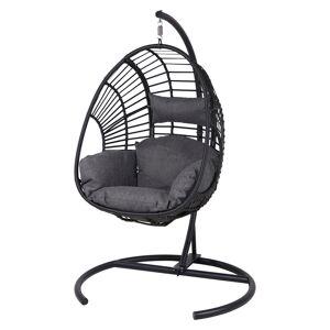 Armin hængesofa-stol inkl. hynde, sort, sort og grå.