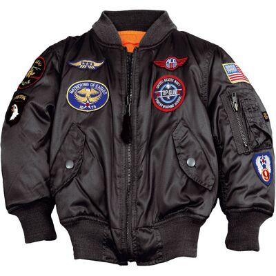Alpha Industries MA-1 Patch Børne jakke Sort 5 år - Børnetøj - Alpha Industries