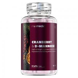 maxmedix Cranberry D-Mannose 60 kapsler - Naturligt Kapsel Tilskud til Urinvejs Støtte