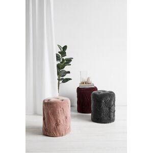 Nordal - Puf i velour m/knapper - Dusty rose