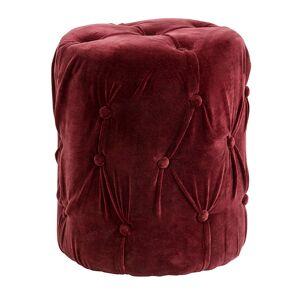 Nordal - Puf i velour m/knapper - Burgundy rød