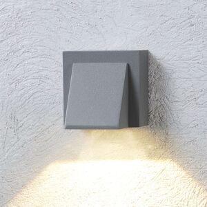Lucande Den sølvgrå LED-udendørs væglampe Marik