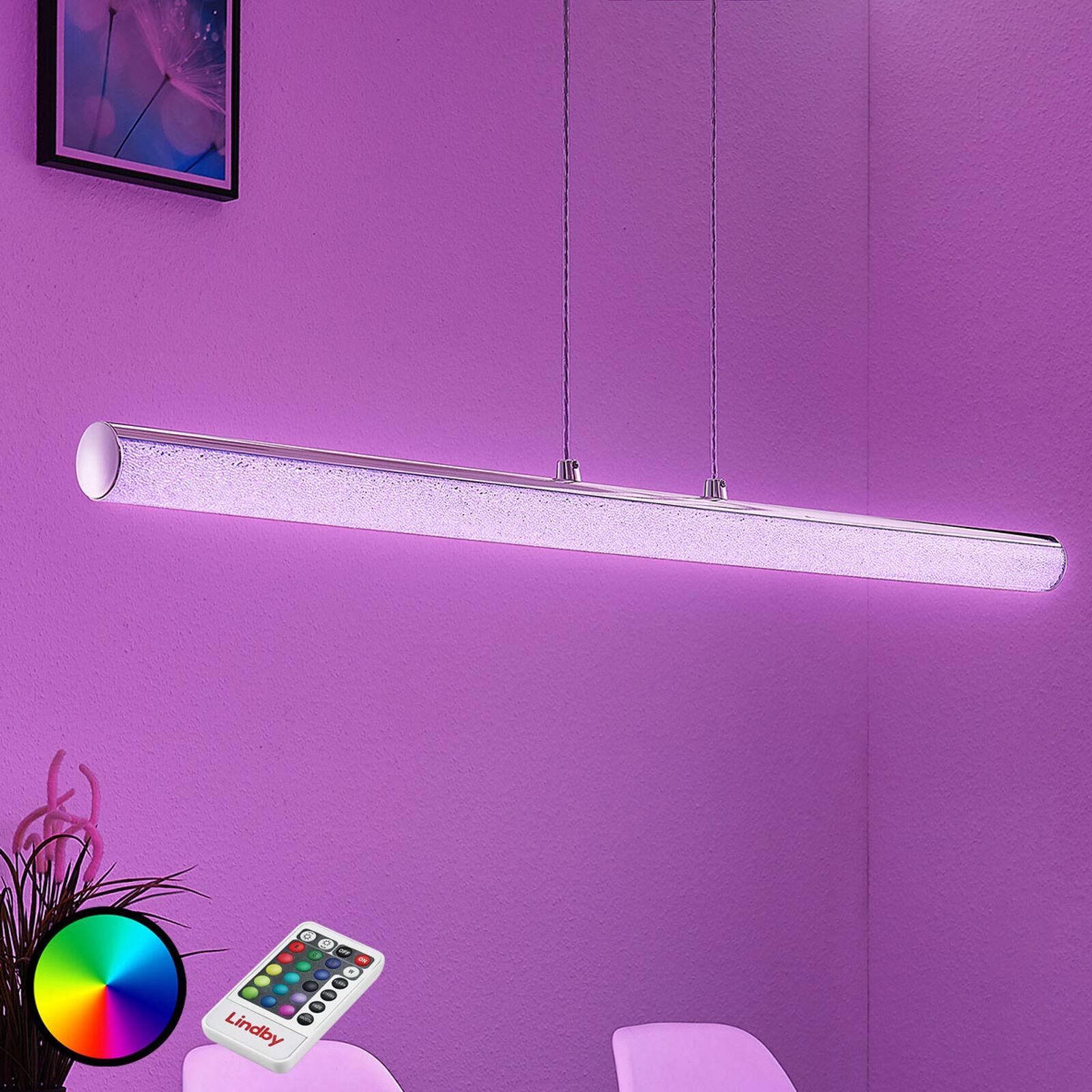 Lampenwelt.com LED hængelampe Fria, cylinder, RGB, fjernbetjening