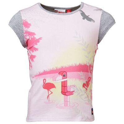 Lego Duplo T-shirt - Gråmeleret/Rosa m. Flamingo - Børnetøj - Lego