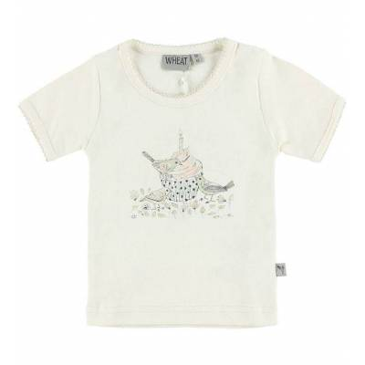 Wheat T-shirt - Creme m. Fugle - Børnetøj - Wheat