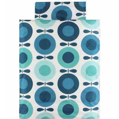 Katvig Classics Sengetøj - Junior - Hvid m. Petroleumsblå Æbler - Børnetøj - Katvig