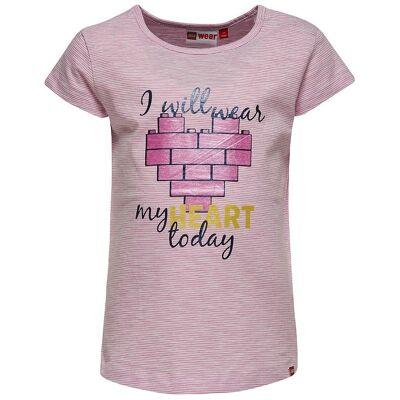 Lego Duplo T-Shirt - Rosastribet m. Hjerte - Børnetøj - Lego