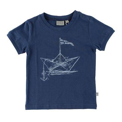 Wheat T-Shirt - Blå m. Papirsbåd - Børnetøj - Wheat