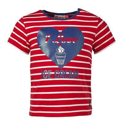 Lego Duplo T-shirt - Rød/Hvidstribet m. Hjerte - Børnetøj - Lego