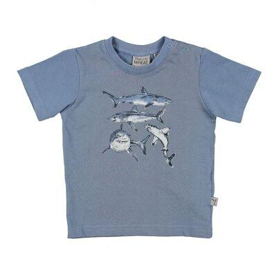 Wheat T-shirt - Støvet Blå m. Hajer - Børnetøj - Wheat