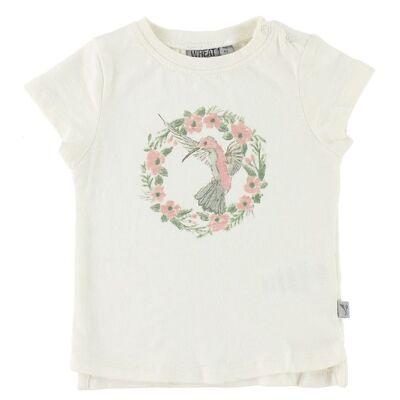 Wheat T-shirt - Flower Bird - Ivory m. Print - Børnetøj - Wheat