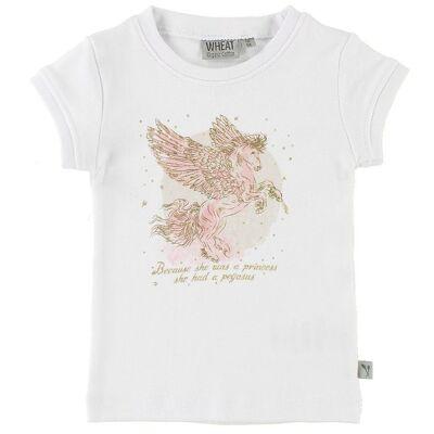 Wheat T-shirt - Pegasus - Hvid m. Print - Børnetøj - Wheat