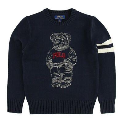 Ralph Lauren Polo Ralph Lauren Bluse - Strik - Navy m. Bamse - Børnetøj - Ralph Lauren