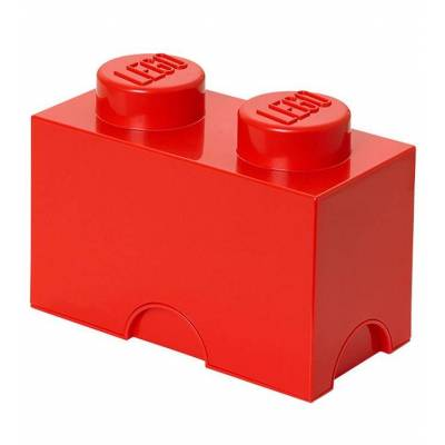 Lego Storage Opbevaringskasse - 2 Knopper - 25x13x18 cm - Rød - Børnetøj - Lego