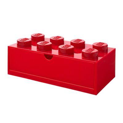 Lego Storage Opbevaringsskuffe - 8 Knopper - 31x15x9 - Rød - Børnetøj - Lego