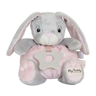 My Teddy Bamse m. Bidering - Grå/Rosa - 16 cm - Kanin - Børnetøj - My Teddy