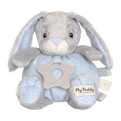 My Teddy Bamse m. Bidering - Grå/Blå - 16 cm - Kanin - Børnetøj - My Teddy