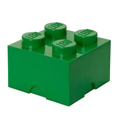 Lego Storage Opbevaringsboks - 4 Knopper - 25x25x18 - Grøn - Børnetøj - Lego
